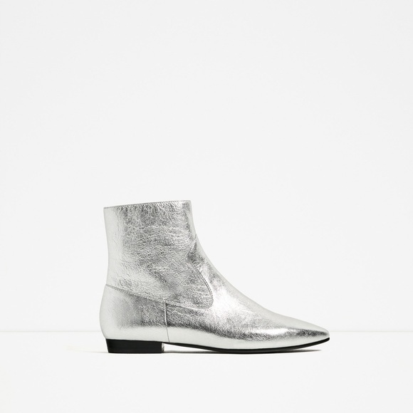 Zara Shoes Silver Leather Ankle Boots Poshmark